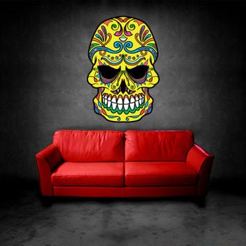 Full Color Wall Decal Mural Sticker Decor Art Beautyfull Cute Sugar Skull Bedroom Curly modern fashion (col601)