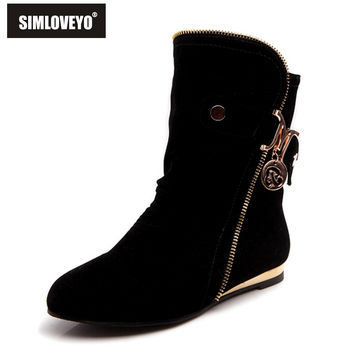 Women Boots Round Toe Flats Platform Snow Boots for Women Fashion Flock Winter Boots 4 Color Big Size 34-43