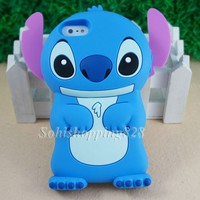 Blue Cute 3D Stitch solf Silicone Back Case Cover for Apple Iphone 5C