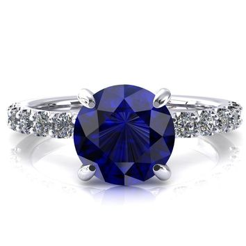 Alessi Round Blue Sapphire 4 Claw Prong 3/4 Micro Pave Engagement Ring