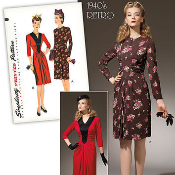 Retro 1940's Dress Pattern Simplicity 1777 Vintage Reproduction
