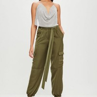 Missguided - Carli Bybel x Missguided Khaki Satin Cargo Pants