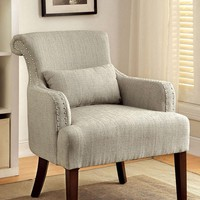 Agalva Contemporary Accent Chair Fabric, Beige Finish