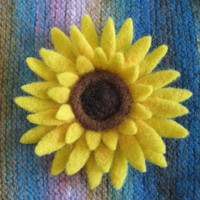 Sunflower Brooch Needle Felted