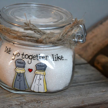 Hand Painted Storage Glass Jar wedding favor gift for lovers in wedding or anniversary like Salt and pepper
