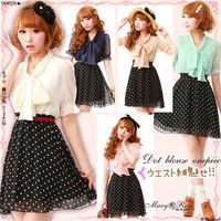 Rakuten: ●[waist design make you look so slim!!with bow tie color contrast dress- Shopping Japanese products from Japan