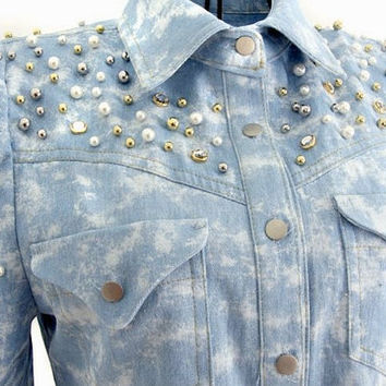 Denim Beaded Bold Shoulder Blouse by JuliLand on Etsy