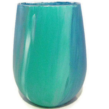 Ocean Themed Hand Painted Stemless Wine Gl Customizable