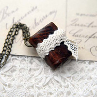 Leather & Lace - Rustic Brown Leather Mini Wearable Book with Tea Stained Pages, Lace Tie and Butterfly Ink Stamp