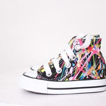 baby black high top splatter painted converse sneakers baby size 3 bright lights big