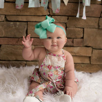 Country Girl Vintage Lace Bubble Romper Mint Floral - Infant & Baby Sizes!