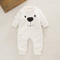 Newborn Infant Baby Winter Warm Cloths Girls Boys Flannel Plush Panda Romper Jumpsuit Overall