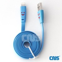10 Colorful LED Lighted Smiling Face USB Data Sync Charging Cord for iPhone 5 iPad Mini C-1120 By CNUS --FREE FAST SHIPPING FROM USA (Purple)