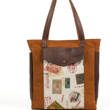Ginger leather tote bag / Suede shoulder bag  / Laptop bag