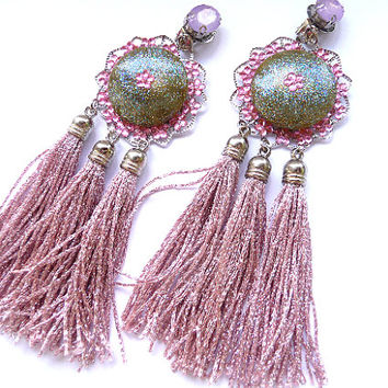 Tassel earrings, Fringe Earrings, Pink tassel earrings, Dusty Pink Earrings, Pink earrings, Pink Green earrings, Multicolor earrings, Big