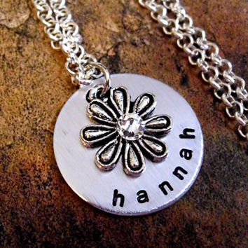 Flower Necklace, Personalized Jewelry, Vintage Flower Necklace, Hand Stamped Jewelry, Swarovski Crystal Flower Necklace