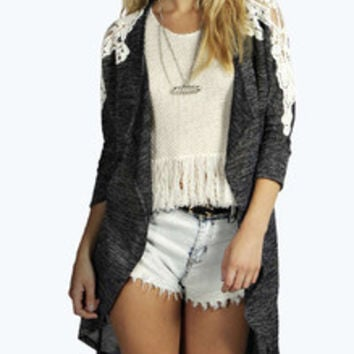 Fall Fashion Grey Long Sleeve Contrast Lace Knit Cardigan