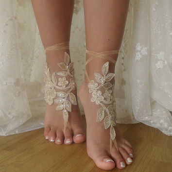 Champagne Lace Barefoot SandalsWedding Shoes,Wedding Accessories,French Lace sandals,Bridal shoes,Foot Jewelry