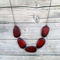 Burgundy Wooden Necklace / Geometric Necklace / Natural Necklace / Beaded Wood Necklace / Antique Copper Necklace