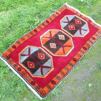 Malatya Rug Tribal Turkish Handknotted Handwoven Rug  ( interesting pattern , vintage pastel colors) FREE SHIPPING