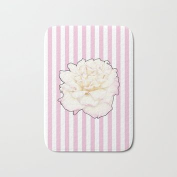 Pale Rose on Stripes Bath Mat by drawingsbylam