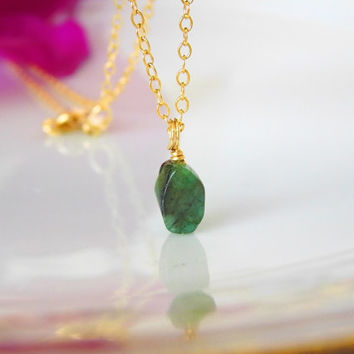 Raw Emerald Necklace - May Birthstone - Gold Necklace - Solitaire - Minimalist Necklace - Raw Stone - Gift for her