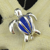 Sea Glass Sea Turtle Necklace Rare Cobalt Blue