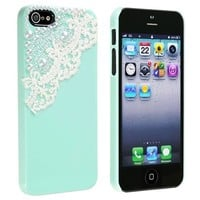 EVERMARKET(TM) Case compatible with Apple® iPhone® 5 / 5S, Mint Green with Lace Pearl