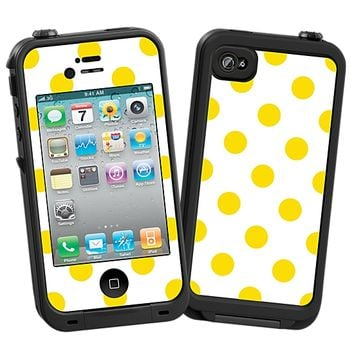 Sunshine Polka Dot on White Skin for the iPhone 4/4S Lifeproof Case by skinzy.com