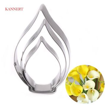 KANNERT 3pcs/set Calla Lily Cookie Cutter 3D Sugarcraft Fondant Cake Pastry Biscuit Baking Mold DIY Cake Decorating Tools