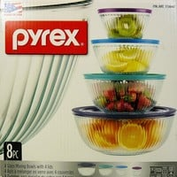 4 Pyrex Glass Mixing Bowls with lids
