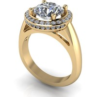 Free Center Stone! Channel Set Diamond Halo Engagement Ring Setting - Cathedral Engagement