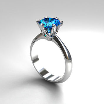 Swiss blue topaz solitaire engagement ring, white gold, blue topaz ring, unique, simple, thin engagement, topaz wedding, white gold ring,