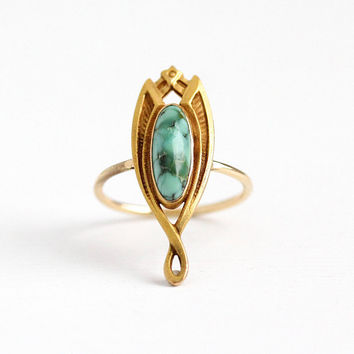 Antique 14k Yellow Gold Turquoise Stick Pin Conversion Ring - Vintage Art Nouveau 1910s Size 5 3/4 Blue Green Oval Cabochon Fine Jewelry