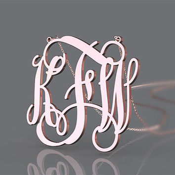 Personalized 1.5 inch monogram necklace plated in gold necklace jewelry for girl's present
