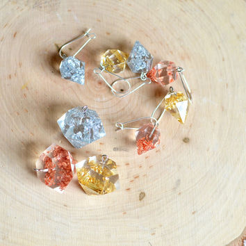 geometric jewelry, Diamond necklace in gold, silver, copper, faceted jewelry, modern jewelry, eco resin