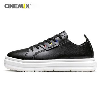 ONEMIX men skateboarding shoes light cool women sneakers soft leather light design outdoor Men Shoes outdoor walking size 35-46