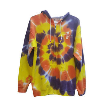 SALE Zip-Up Tie Dye Hoodie Adult Medium Womens Mens Girls Boys Gift For Her Gift For Him Tumblr Clothing Candy Corn Fall, Halloween