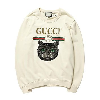 GUCCI autumn new tide brand cat head sequins couple models loose round neck long-sleeved sweater Apricot