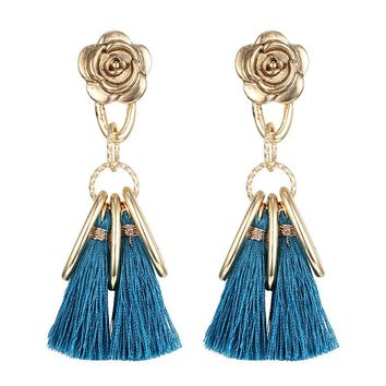Stylish Alloy Floral Tassels Earrings [10825998662]