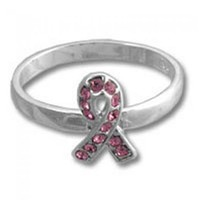 Breast Cancer Awareness Pink Ribbon CZ Sterling Silver Ring - Awareness