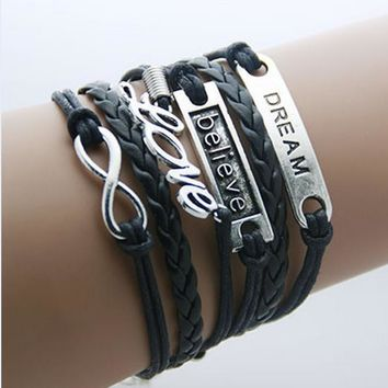 Dream, Believe and Love - Leather Wrap Infinity Bracelet