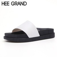 HEE GRAND Summer Flat Slides 2017 Casual Platform Shoes Woman Solid Slip On Flats Beach Creepers XWZ3711