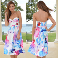 ≫∙∙Summer Dress Strapless Floral Bustier Midi Dress ∙∙≪