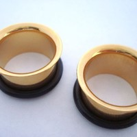 GOLD Single Flare Earlets (14 gauge - 1 & 1/2 inch)