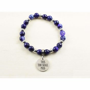 Genuine Agate Inspirational Bracelet - Purple - This too shall pass