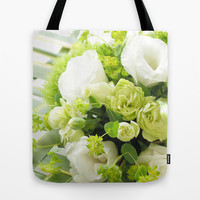 Bouquet from different white seasonal flowers Tote Bag by Yumehana Design Fine Art Photography