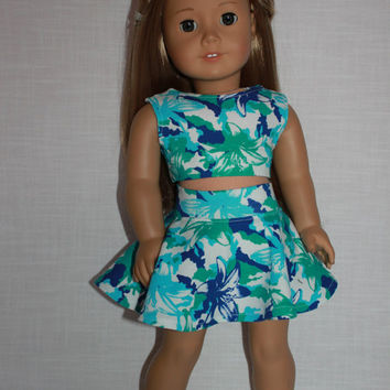 18 inch doll clothes, blue and green tropical print skater/circle skirt and matching crop top, Upbeat Petites