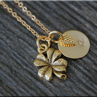 Gold Lucky Clover Charm Necklace, Initial Charm Necklace, Personalized Necklace, Shamrock Charm, Clover Pendant, Lucky Charm Jewelry