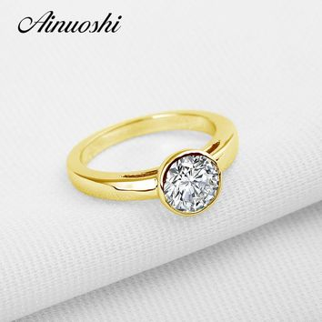 Women's 10K Yellow Gold 1.25 CTTW Cubic Zirconia Round Solitaire Engagement Ring